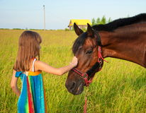 Love to animals. Little girl in a bright sundress with long hair stroking horse royalty free stock photo