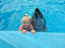 Love to animals - little girl posing with dolphin in pool of dolphinarium.  royalty free stock images