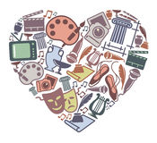 Love to art. Symbols of various art forms in the form of heart Royalty Free Stock Images