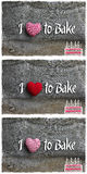 Love To Bake Message Decoration Red Stripes Fabric Heart Collage Stock Photo