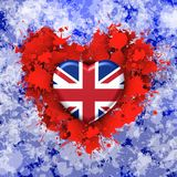Love to Britain over red heart. Explosion of love towards over white heart Royalty Free Stock Images