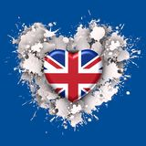 Love to Britain over white heart. Explosion of love towards over red heart Stock Image