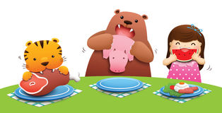 We love to eat variety. Tiger bear and little girl eat their food several illustration Royalty Free Stock Photography