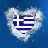 Love to Greece over white heart. Explosion of love towards over white heart Stock Images