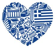 With love to Greece. Traditional symbols of Greece in the form of heart Stock Photography