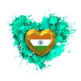 Love to India over emerald heart. Explosion of love towards over white heart Royalty Free Stock Images