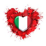 Love to Italy over red heart. Explosion of love towards over red heart Stock Photos
