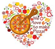 We love to make pizza. Food, Italy, composition, pizza love, heart shape with vector icons stock illustration