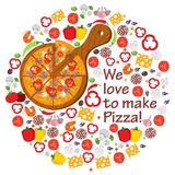 We love to make pizza. Food, Italy, pizza love stock illustration