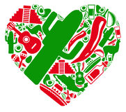Love to Mexico. Traditional symbols of Mexico in the form of heart Stock Photo