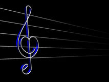 Love to music. Symbol of sound, treble silver clef on a black background Stock Photos