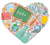 Love to school. School symbols in the form of heart Royalty Free Stock Image