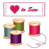 Love to Sew. Needle, spools of thread in Pantone fashion colors: honeysuckle, phlox, cedar and quarry. Sewing label isolated on white Stock Images