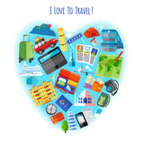 Love to travel concept icon poster Royalty Free Stock Images