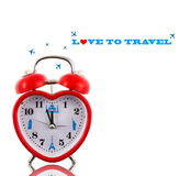Love to travel! Heart clock. With landmarks isolated Stock Image
