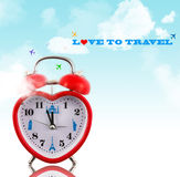 Love to travel! Heart clock Royalty Free Stock Photography