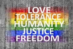 Love, Tolerance, Humanity, Justice, Freedom and LGBT flag painted on concrete background Royalty Free Stock Images