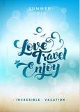 Love Travel Enjoy. Calligraphic Poster Stock Photo