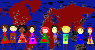 We love travel and geography.ai. Chain of kids in front a world map Royalty Free Stock Image