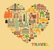 The love of travel. Icon architectural monuments of the world in the shape of a heart Stock Images