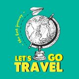 Love travel yellow text. White paper airplane is flying around the world. The best journey. Earth. Globe. Aircraft. Isolated vecto. R doodle objects on green Royalty Free Illustration