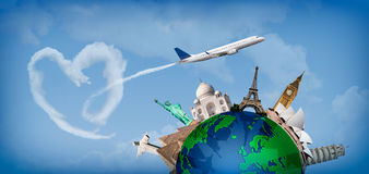 Love travelingall over the world. Concept of travel around the world with representation of the globe and monuments around. With heart-shaped clouds Stock Image