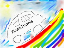 Love travels. Painted in the smartphone Royalty Free Stock Image
