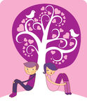 Love tree. Cartoon boy and girl in love. valentine's day concept Royalty Free Stock Image