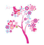 Love tree. Abstract tree with flowers and hearts Royalty Free Stock Images