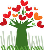 Love Tree. Vector design o green tree with red and orange heart shape leafs Royalty Free Stock Photos