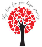 Love tree. Stylized tree made of hearts with a message Stock Photos