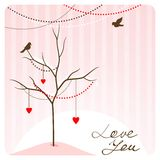 Love tree. Cartoon spring background with love tree and birds Stock Photography