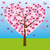 Love tree. Abstract illustration of a heart shape tree with hearts like leaves. Vector Stock Photos