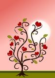 Love tree. In pink and red colours in cartoon styles Royalty Free Stock Photo