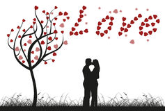 Love tree. Couple is kissing underneath a love tree,  illustration Stock Photos