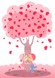 Love tree. Sweet digital illustration about child girl and child boy having a first kiss under a happy pink love tree Stock Photos