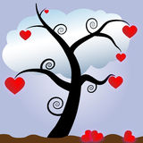 Love tree. With red hearts Royalty Free Stock Photography