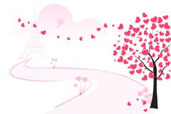 Love Tree. Easy to edit vector illustration of love tree with blooming heart royalty free illustration