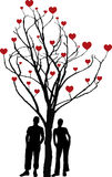 Love tree. Tree of love - valentine illustration with man and woman standing under tree with hearts Stock Photography