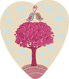Love tree. Two birds in love standing ob romantic tree illustration Stock Images