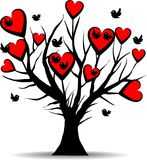 Love tree with black birds. And red hearts - valentines day Stock Photography