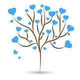 Love tree with blue heart leaves different sizes on white background. Vector illustration Stock Photos