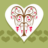 Love tree card. Gentle love tree as a congratulation or intitation card Royalty Free Stock Photo