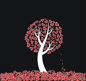Love Tree with dead leaves. Red heart tree on black background stock illustration
