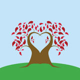 Love tree in a field. Illustration of a tree shaped like a heart on a field Stock Images