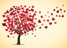 Love tree flying leafs Stock Photo