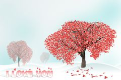 Love tree full of heart shaped leaves Stock Image