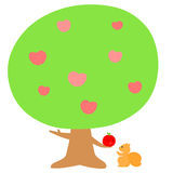 Love tree give fruit to squirrel  Royalty Free Stock Image