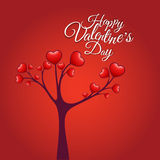 Love tree, Happy Valentine's Day. Vector with hearts Royalty Free Stock Images