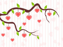 A love tree having hanging heart shapes. Stock Image